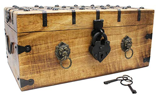 Lion Heart Pirate Treasure Chest 17 x 10x 8 With Heart Iron Lock Skeleton Key Decorative Box by Well Pack Box (Extra Large)