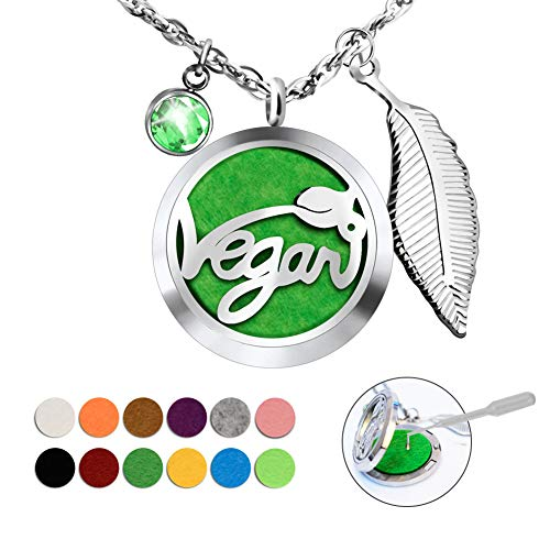 (abooxiu Vegan Necklace Gifts Aromatherapy Fragrance Essential Oil Diffuser Necklace Birthstone Gemstone Pendant Lockets Jewelry 27