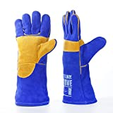 Welding Gloves by QeeLink - Reinforced Palm - Softer and Stronger - Cotton Lined And Kevlar Stitching - Suitable For Work Gloves, Camping Gloves, Gardening gloves, Fireplace Gloves 1 Pair