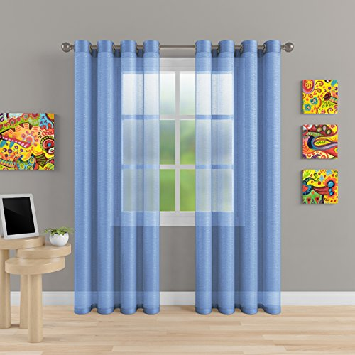 """Grommet Semi Sheer Luxury 2 Panels Total Wide 108"""" (Each Curtain 54""""Wx84""""L) Window Home Decor and Upscale Design Light Penetrating & Privacy Soft Durable Polyester Easy Upkeep (Baby Blue)"""