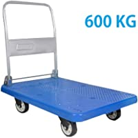 "EQUAL Folding Platform Trolley For Lifting Heavy Weight, 600Kg Capacity, Blue Color, 5"" wheel (63cm x 105cm)"