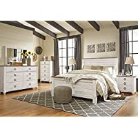 Willannet Casual Whitewash Color Wood Bed Room Set, Queen Panel Bed, Dresser, Mirror, Chest And Nightstand