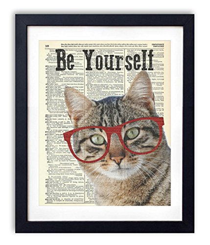 Cat With Glasses ''Be Yourself'' Upcycled Vintage Dictionary Art Print 8x10 by Vintage Book Art Co.