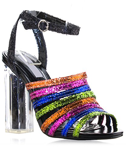 RF ROOM OF FASHION colorful Glitter Caged Strappy Lucite Clear Chunky Heel Dress Sandals Black (10)
