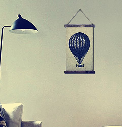 OYGROUP Hot Air Balloon Scroll Painting on Linen Hanging Painting Vintage Decoration for Home Bar Cafe Bedroom Dining Room Gift for Christmas 26.5x42.5cm