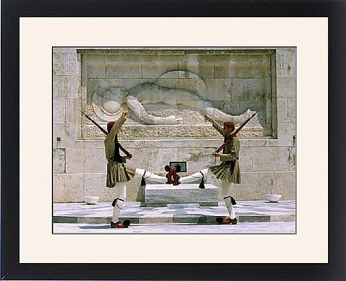 Evzone Guards (Framed Print of Evzones guards in front of Greek Parliament building)