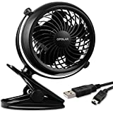 OPOLAR Clip and Desktop Fan, USB or Battery Operated [4 AA Batteries Required,(not included)] for Baby Stroller, Home, Office, and Outdoor
