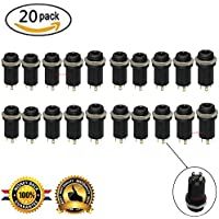 Lsgoodcare 20PCS 3.5MM Mini Stereo Female Panel Mount Headphone Jack Solder, Black Plated Gold 4 Conductor