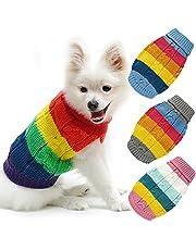 Hondentrui, jas, zacht warm gebreid gehaakte huisdier jumper puppy vest winter buitenkleding jas kleding regenboog strepen hond sweatshirts kleding voor kleine middelgrote hond