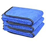 "Microfiber Car Wash Cloths 400gsm Tow Different Sides for Cleaning Polishing 3-pack (16""x24"", Bluex3)"