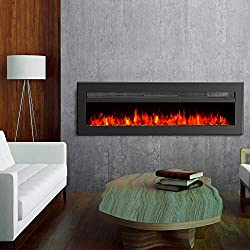 GMHome Wall Recessed Electric Fireplace 9 Changeable Color, w/Remote, 1500/750W, Metal Panel