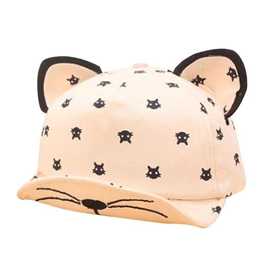 96aea8f8473b2 Amazon.com  Unisex Girls Boys Outdoor Cartoon Cat Ear Baseball Cap Sun Hat  Gif- Beige  Clothing