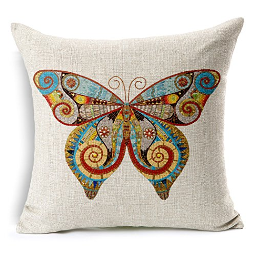 ME COO European and American antique printed butterfly dragonfly thick cotton pillow lumbar cushion cover Decorative Sofa Cushion cover 18 x 18Inches 1pcs