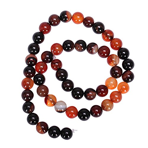 """AAA Natural Brown and Orange Agate 10mm Gemstone Round Loose Stone Beads for Jewelry Making ~15.5"""" GC8-10"""