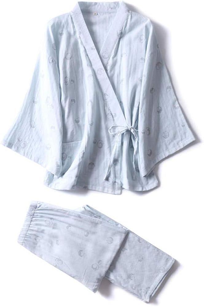 Pijamas Mujer Camisones Nuevo Pijama literario de algodón Estampado de Manga Larga Pijama Set-M: Amazon.es: Ropa y accesorios