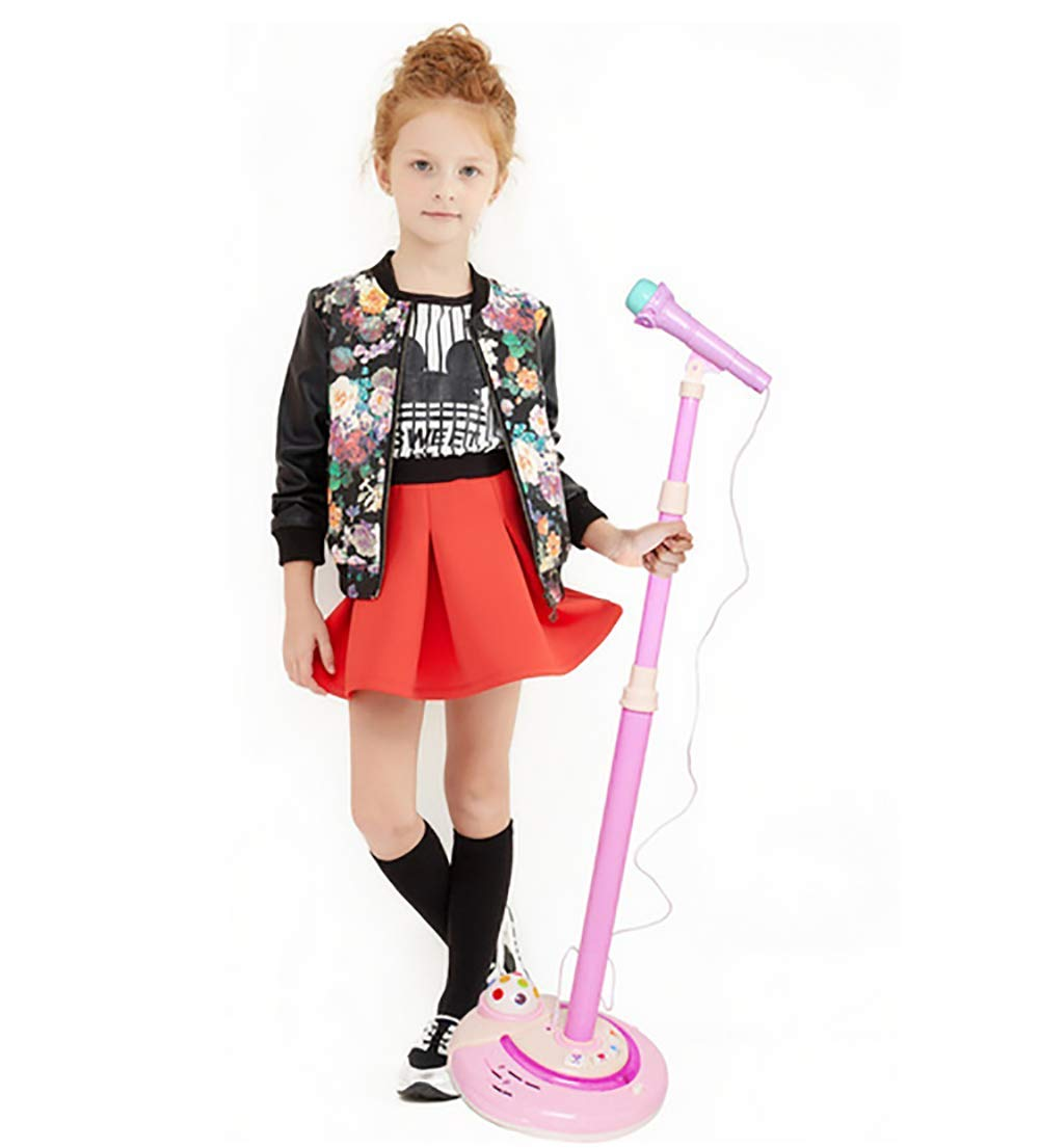 Kids Karaoke Microphone Musical Toys with Adjustable Stand & Flashing Lights, Home Party Gift for Kids- Great Gift,B