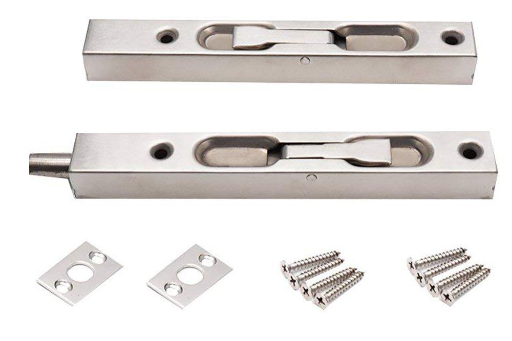 BTMB 6 inch 304 Stainless Steel Concealed Security Door Lock for Composite Doors,French Doors,Wood Doors Pack of 2