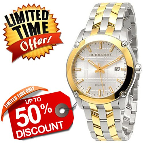 Burberry Heritage SWISS LUXURY Round Silver & Gold Gold/Stainless Steel Band 42mm Gold Date Dial Men Unisex Women Watch BU1856