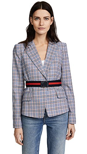 n Pinstripe Belted Blazer, Multi, 0 (Milly Womens Coat)