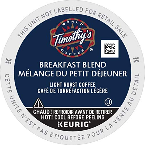 Timothy's, Breakfast Blend, Single-Serve Keurig K-Cup Pods, Light Roast Coffee, 96 Count (4 Boxes of 24 Pods)