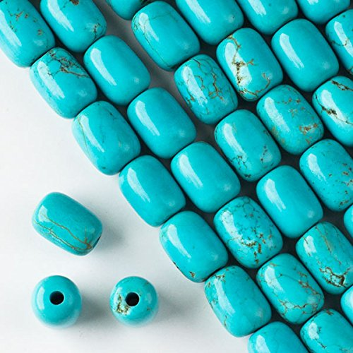 Cherry Blossom Beads Large Hole Turquoise Howlite 10x14mm Barrel with 2.5mm Drilled Hole - 8 Inch Strand