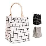 HOMESPON Reusable Lunch Bags Printed Canvas Fabric Insulated Waterproof Aluminum Foil, Lunch Box Women, Kids, Students-Long Handle (Checkered Pattern-White)