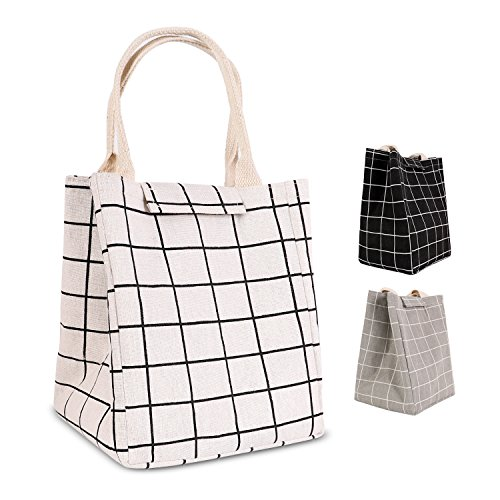 Eco Friendly Lunch Bags (HOMESPON Reusable Lunch Bags Printed Canvas Fabric with Insulated Waterproof Aluminum Foil, Lunch Box for Women, Kids, Students-Long Handle (Checkered Pattern-White))