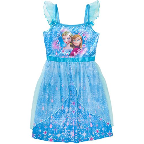 Disney Frozen Anna Elsa Nightgown Nightshirt Pajama Little Girls' S(6/6X) Blue (Disney Frozen Gowns)