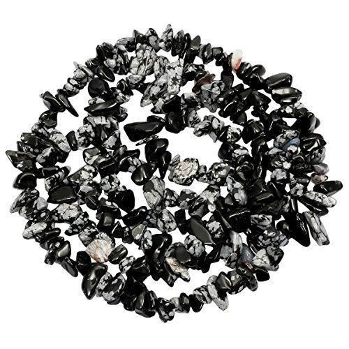 Nupuyai Chips Gemstone Loose Beads for Jewelry Making, Polishd Stone Beads Strands 33 inches, Snowflake -