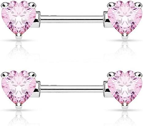 316L Surgical Steel Heart Key Nipple Bar with Purple Cubic Zirconia Gems