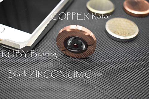 MetonBoss 1st Performer Spinning Top: Copper Rotor with Side Grips / Precision Milled Black Zirconium Core with Two Ruby Bearings EDC Gift (Copper Rotor) by MetonBoss (Image #1)