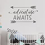 trfhjh Quotes Wall Sticker Home Art Adventure Awaits Vinyl Wall Decal Art Nursery Quote Removable Wall Sticker Arrows Explorer Nature Modern Nursery Decorate Bedroom Living Room Kids Room