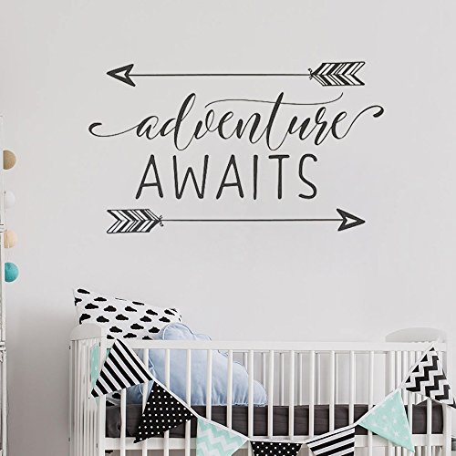 trfhjh Quotes Wall Sticker Home Art Adventure Awaits Vinyl Wall Decal Art Nursery Quote Removable Wall Sticker Arrows Explorer Nature Modern Nursery Decorate Bedroom Living Room Kids Room by trfhjh