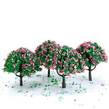 2,7 Zoll Grün Zug Set Scenery Landschaftsmodell Baum mit rosa und ...
