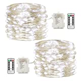 GDEALER 2 Pack Fairy Lights Fairy String Lights Battery Operated Waterproof 8 Modes Remote Control 60 Led String Lights 20ft Copper Wire Firefly lights for Bedroom Wedding Festival Decor Cool White