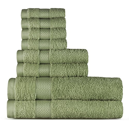 100% Cotton 8 Piece Towel Set (Sage); 2 Bath Towels, 2 Hand Towels and 4 Washcloths, Machine Washable, Super Soft by WELHOME