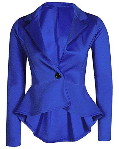 Slim Sportiva Colletto Cappotto Irregolare Giacca Donna Blu A V Vestibilità Del Tuta Della BYpAqH