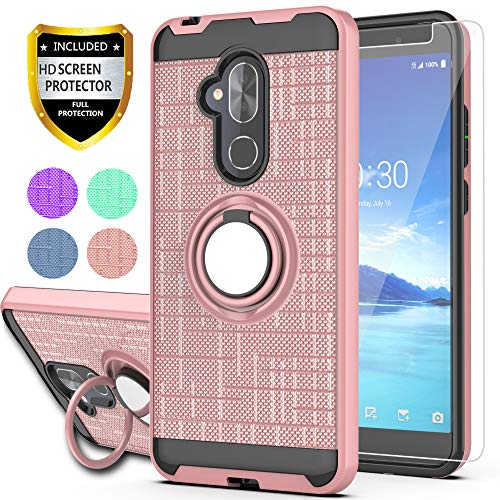 YmhxcY for Alcatel 7 Case, Revvl 2 Plus Case (T-Mobile), Alcatel 7 Folio Case with HD Screen Protector, 360 Degree Rotating Ring & Bracket Dual Layer Shock Bumper Cover Alcatel 7-ZH Rose Gold