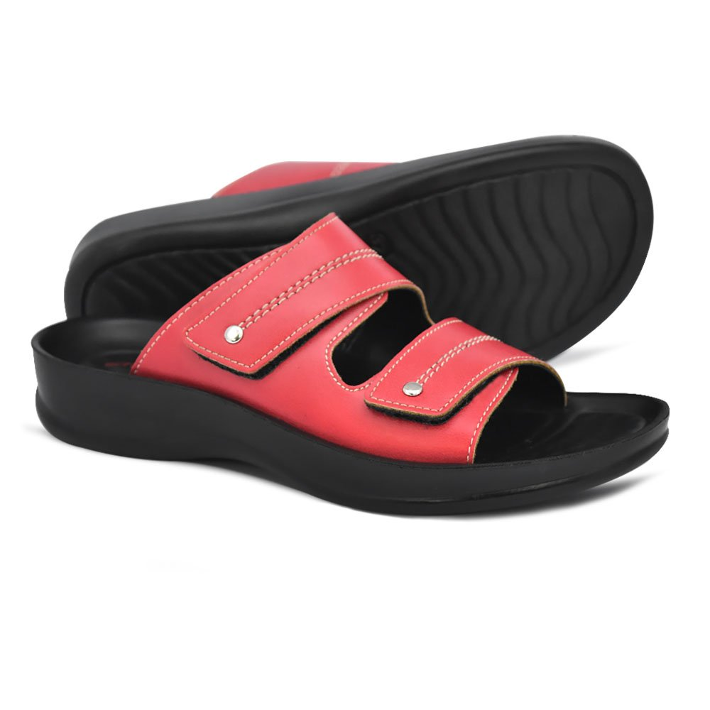 AEROTHOTIC Original Orthotic Comfort Dual Strap Sandals and Flip Flops with Arch Support for Comfortable Walk (US Women 7, Quinn Red)