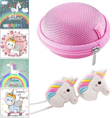 Cute Rainbow Unicorn Headphones/Earphones with Pink Carry Case & 12 pc Unicorn Sticker Gift Set for Kids, Tweens, Teens Girls Birthday Gift
