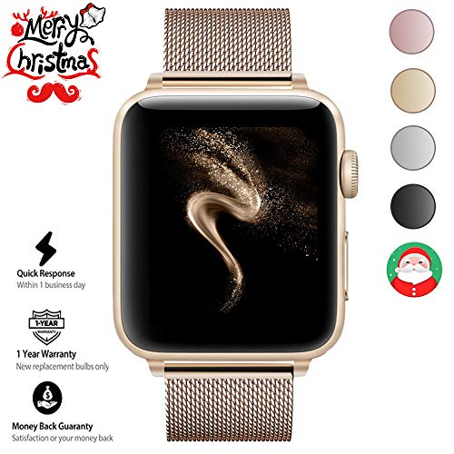 Gold Mesh Buckle (AGUARA Compatible with Apple Watch Band 38mm/40mm, Mesh Milanese Loop Strap with Magnetic Closure Compatible with iWatch Band Series 4 3 2 1 (Gold, 38mm/40mm))