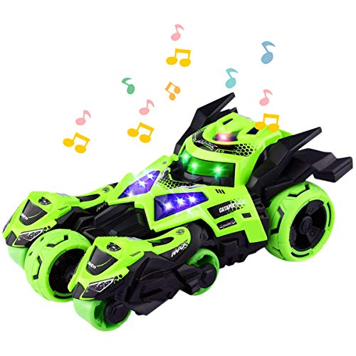 YITOOK Pull Back Vehicles,【Upgraded Version】 3 in 1 Air Pull Back Car Toys Friction Powered Vehicles Include 2 Motocycles with Fun Lights & Sounds Gifts for Children Kids Boys Girls (Green)