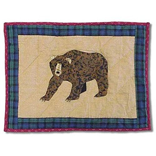 Patch Magic 16-Inch by 12-Inch Cabin Bear Crib Toss Pillows - Embroidered Crib Pillow