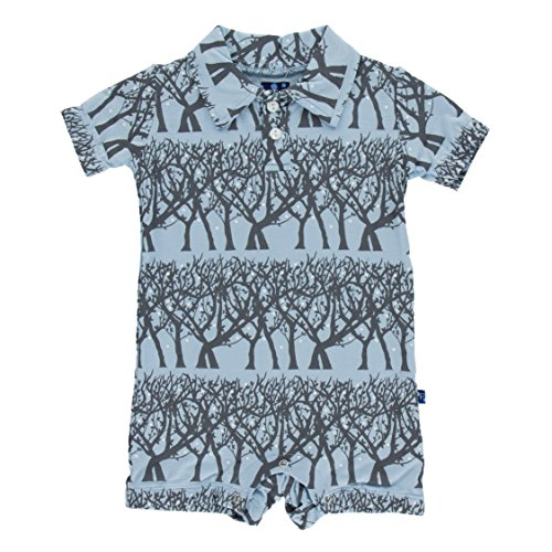 KicKee Pants Baby Boys Print Polo Romper Prd-kpbr604-pfr, Pond Fireflies, 12-18 Months (Firefly Clothing Sale)