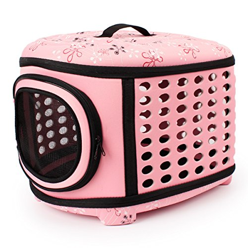 Hard Sided Pet Carriers Pet Houses Cats or Dogs Out Portable Cages (Pink)