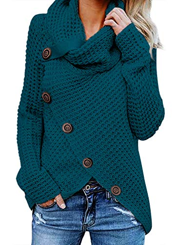 (Asvivid Womens Turtleneck Cowl Neck Button Asymmetric Wrap Fall Loose Knit Pullover Sweater Coat Outerwear L Blue)