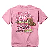 Buck Wear Girl's Camo Hunting Boots T-Shirt (5 oz. Range), Pink, Small