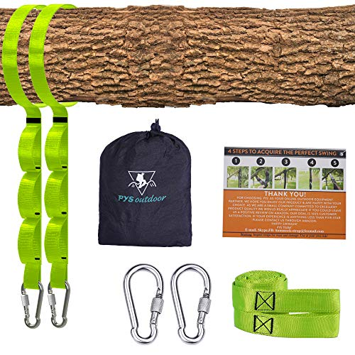 Tree Swing Straps Kit-Two Adjustable (20loops Total) Straps Hold 2000lbs Two Heavy Duty Carabiners (Stainless Stell),Easy & Fast Swing Hanger Installation to Tree, 100% Non-Stretch (Green, 5FT)