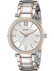 GUESS Womens Stainless Steel Two-Tone Casual Watch, Color: Silver-Tone/Rose Gold-Tone (Model: U0636L1)