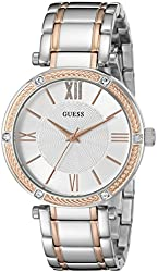 GUESS Women's U0636L1 Classic Silver and Rose Gold Two-Tone Watch